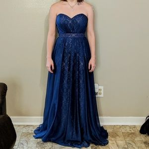 Strapless Navy Blue Prom Dress